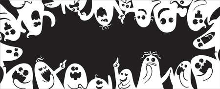 Monochrome ghost apparition spook horror set. Ghost shadow funny.  ghost sheet for halloween character design. Isolated vector illustration. Imagens - 154719028