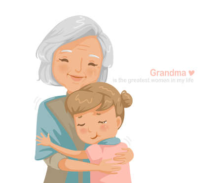 Granny and niece are hugging each other. Grandmother and granddaughter smiling happy. Family relationship the concept of insurance for seniors and their children's education. Card design for grandma day and elder day.