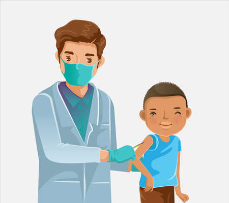 Child vaccinated. Doctor holds an injection vaccination little girl. Pediatrician doctor child care. Vaccination concept. Vector illustration. 免版税图像 - 154719016