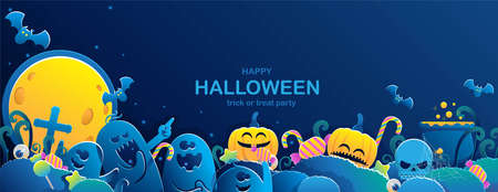 Happy Halloween banner. Halloween backgrounds with night in the cemetery party. Ghosts, candy and pumpkins in paper cut style. Full moon in the sky spiders and flying bats. Free space  place for text.