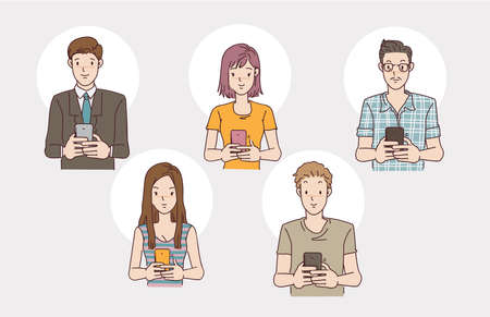 People using the phone set. man and women use sing smartphone. Hand drawn vector design illustrations.