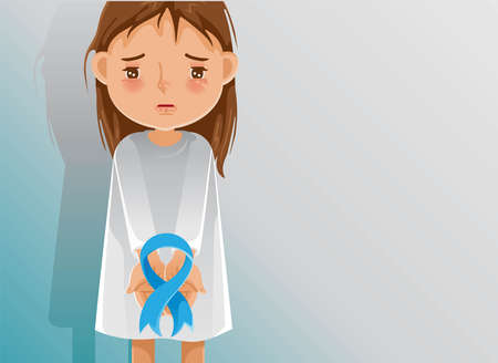 Little girl holding a blue ribbon. little girl abuse ribbon. sad girl. The child cried and was attacked and bullied. Stop family violence. Human trafficking concept. Children's health problems. Child abuse problems.