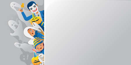 Halloween costume. Banner with a surprised fabric ghosts, men, and witches children peeking at the edge.The wall is blank for filling your message. Isolated vector illustration.