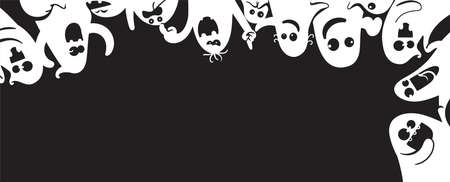 Monochrome ghost apparition spook horror set. Ghost shadow funny.  ghost sheet for halloween character design. Isolated vector illustration.
