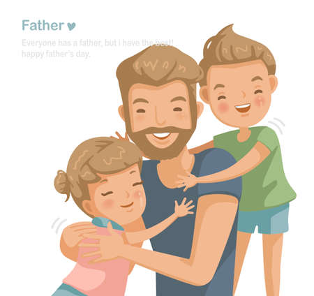 Father son and daughter hugging, Handsome young man playing with children at their home together. Family love affair, care, collateral, insurance and scholarship. Cartoon character used widely. vector 免版税图像 - 154719015