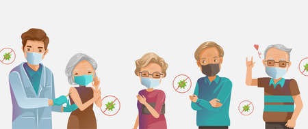 Vaccine elderly. Flu and COVID-19 vaccine. Elderly mask group inject. Doctor holds an injection vaccination old woman.