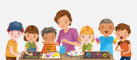 Child care center. Children drawing and painting. Teachers and children at school in the classroom.