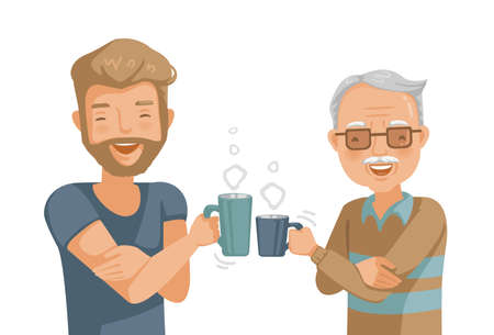 Elderly father with son. Hold a glass of hot drink and smash a glass to celebrate the success. Happy smile.  Sweet bonding. Cheerful. man feeling happy of family relationship. Posillustration isolated