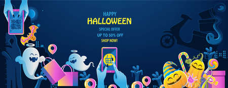 halloween shop. The ghost's hand is holding the phone. Buy and sell mobile applications. Happy Halloween cats banner. Halloween backgrounds with night in the cemetery party. Space place advertise you.