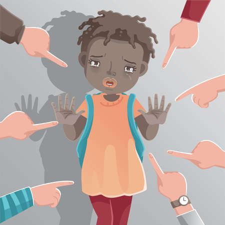 Children racism girl stop gesture sign. Crying little girl african american. Racist children concopt. The child cried and was attacked and bullied. Stop bullying on their classmate in school. vector Ilustração
