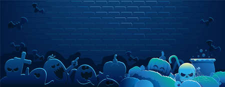 Halloween background. Blue Wallpapers. The scene of the brick wall at night. The scene of the brick wall at night. Shadows of ghosts, bats and pumpkins in the dark.  EmptyIsolated vector illustration.