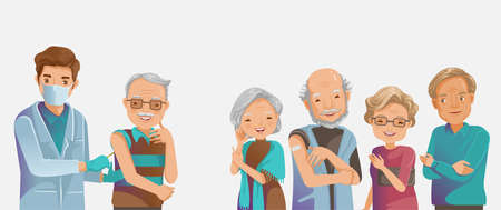 Vaccine elderly. Elderly group inject. Doctor holds an injection vaccination old man. Doctor health care retirement at a nursing home. Vaccination concept. Vector illustration. Ilustração