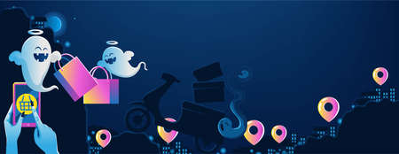 halloween on mobile. The ghost's hand is holding the phone. Buy and sell mobile applications. Happy Halloween banner. Halloween backgrounds with night in the cemetery party. Space place advertise you.