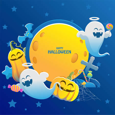 Halloween pumpkins. Banner with pumpkin and ghost. Decorative objects for Halloween. Halloween background of cemetery. Full moon night. Trick or Treat illustration concept. Vector