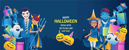 halloween on sale. Buy and sell mobile applications. Happy Halloween banner. Halloween backgrounds with night in the cemetery party. Space place advertise you. Ilustração