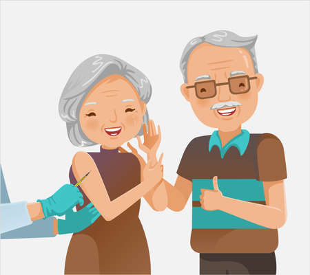 Couple elderly vaccinated. Doctor holds an injection vaccination Elderly woman. A lovely couple or grandparents. Vaccination concept. Vector illustration.