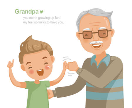 Grandfather and grandson Fist bump aside.Thumb up.Family relationship, insurance concept for the elderly, education of the child. Picture card design and text instead of love. Card design for elderly.