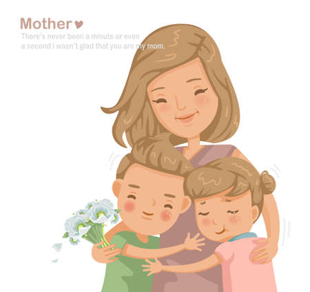 Mother is hugging daughter and son. Get flowers, smile and appreciate with love. Personality character design, message used in various occasions. Mother's Day, birthdays, family care, insurances.