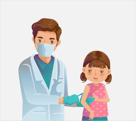Child vaccinated. Doctor holds an injection vaccination little girl. Pediatrician doctor child care. Vaccination concept. Vector illustration.