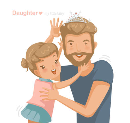 Dad with cute daughter wearing a crown glittering on her father's head for carnival. Handsome young man is surprised at home with his little cute girl. Design a greeting card for Father's, Children. Ilustração