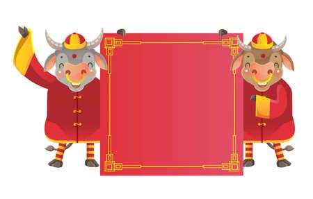 Horse holding  red paper. Chinese style. Ilustração