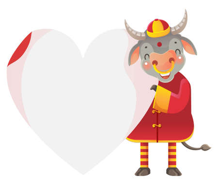 Horse holding  heart shape. Hold a blank white paper.