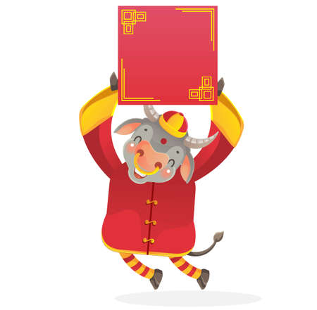 Horse holding  red paper. Chinese style. Banque d'images - 154719165