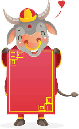 Horse holding  red paper. Chinese style. Vectores