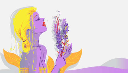 Lavender and woman. Woman with bouquet of lavender flowers side view. relaxing mood with the scent of flowers. Over lavender background.