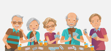 elderly playing games. happy senior woman elderly smiling and old man laughing. while playfull  as a recreational activity or therapy together with the group of retired peple. Ilustração