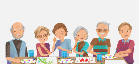 Elderly painting. Happy senior woman smiling and friends while. Drawing as a recreational activity or therapy together. Group of retired women and man elderly.