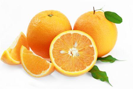 orange peel clove: Orange su sfondo bianco  Archivio Fotografico