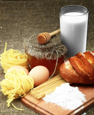 Bread, milk and eggs photo