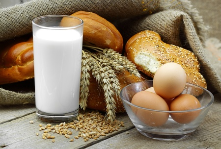 Bread, milk and eggs Stock Photo