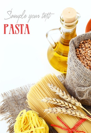 pulses: Pasta and grains of wheat Stock Photo