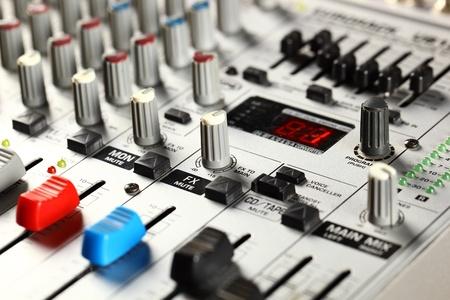 Sound mixer closeup  Stock Photo