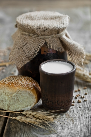 Bread with a mug of milk photo