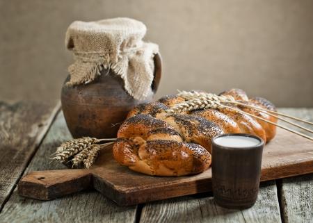 Bread with a mug of milk photo