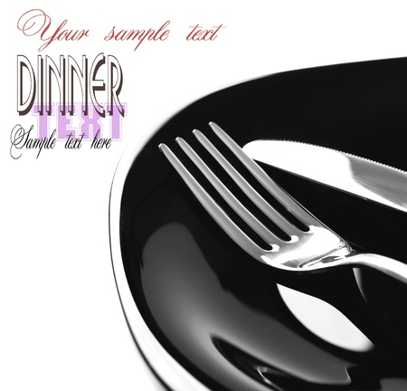 Restaurant Menu series with copyspace  Fork and knife in elegant table setting  photo