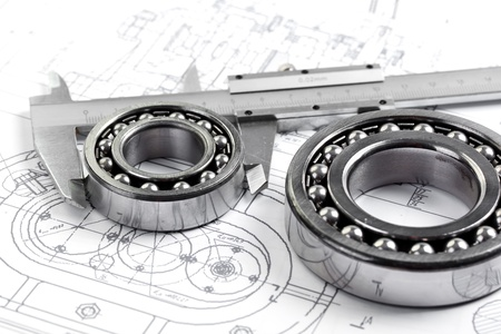 calipers: tools and mechanisms detail on the background of technical drawings