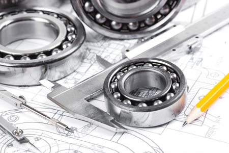 chock: tools and mechanisms detail on the background of technical drawings  Stock Photo