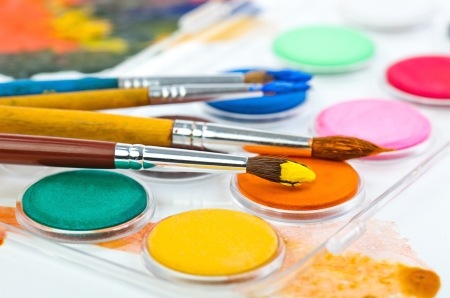Paints and brushes photo