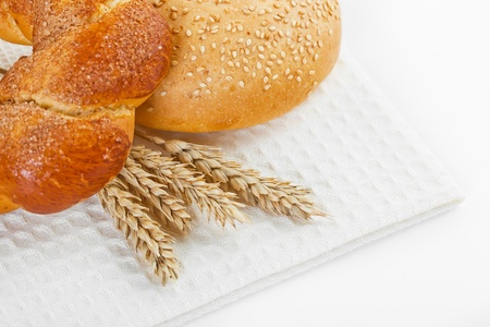 fresh bread on the white background Stock Photo - 18034070