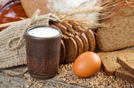 fresh bread and wheat on the wooden Stock Photo - 18033275