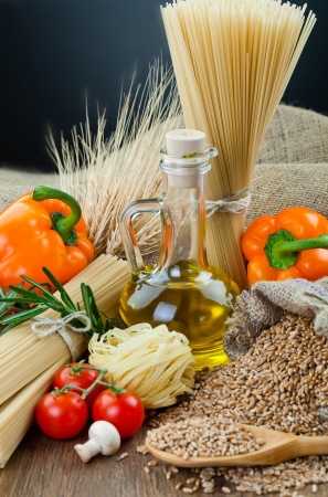 The composition of the pasta and vegetables on background Stock Photo - 18467051