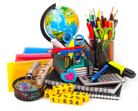 pencil symbol: Back to school blackboard with pencilbox and school equipment on table Stock Photo
