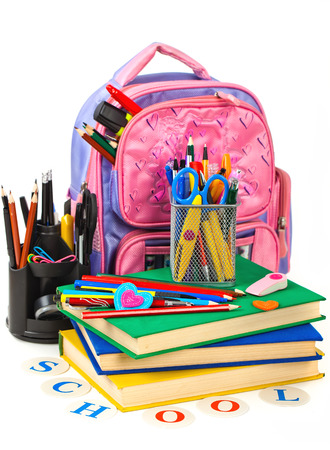 school bag: Back to school blackboard with pencilbox and school equipment on table Stock Photo