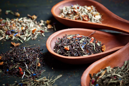 Leaves of tea with herbs