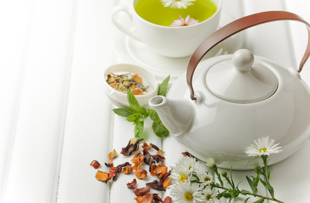 green tea in a cup Stock Photo