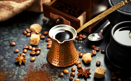 coffee set and coffee beans Stock Photo